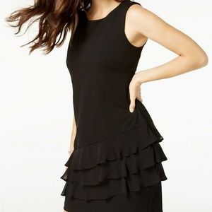 Connected Womens Black Tiered Ruffles Sheath Dress